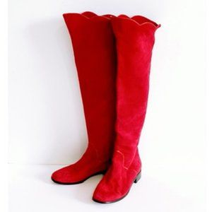 Vintage Yves Saint Laurent red suede long boots, 7